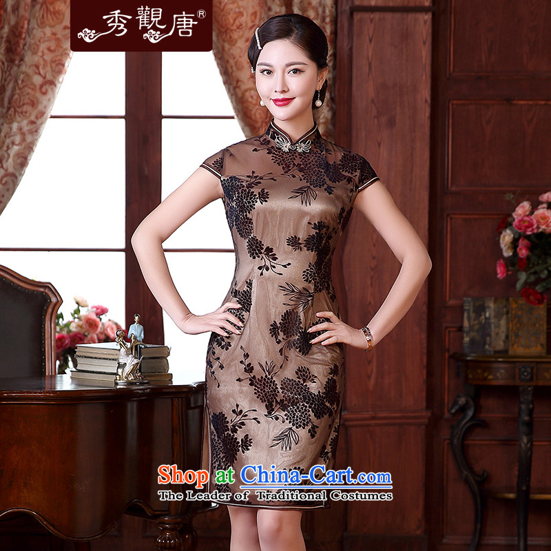 [Sau Kwun Tong Lok Yuk-2015 spring/summer load new improved Stylish retro look like Sau San cheongsam dress QD5115 apricot M