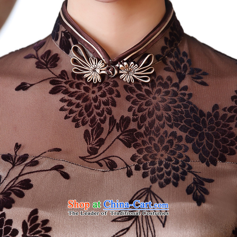 [Sau Kwun Tong Lok Yuk-2015 spring/summer load new improved Stylish retro look like Sau San cheongsam dress QD5115 apricot color M-soo Kwun Tong shopping on the Internet has been pressed.