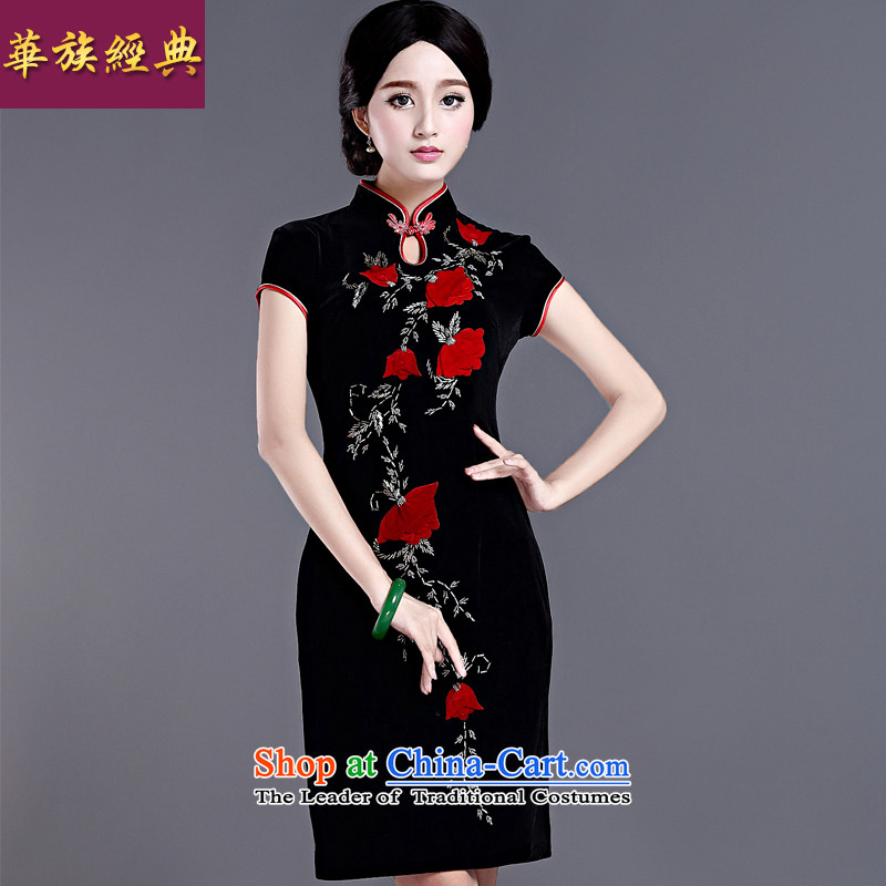Spring Kim scouring pads large middle-aged ladies cheongsam dress wedding dresses retro improved temperament, short black?XXXL Sau San