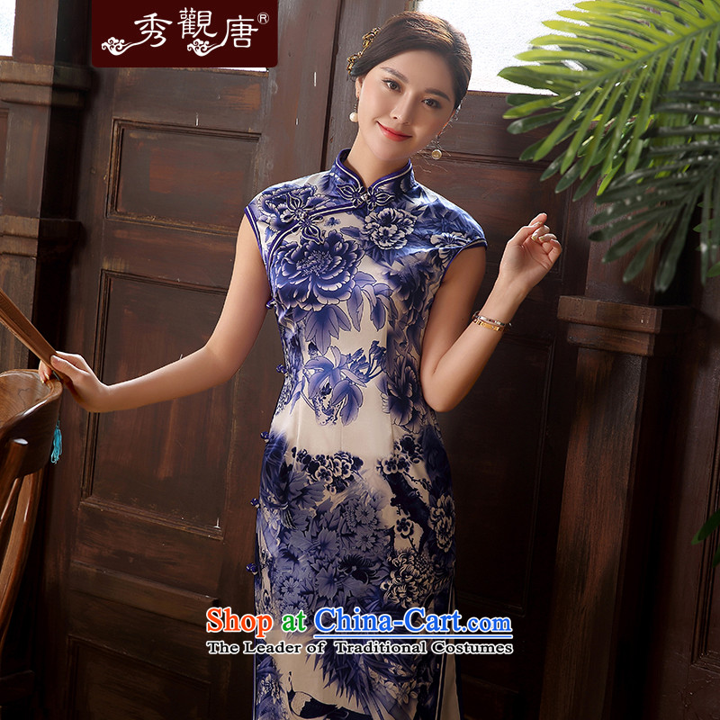 -Sau Kwun Tong- Blue Bird 2015 Spring_Summer new upscale Silk Cheongsam herbs extract retro temperament Sau San dresses QD5106 Blue and White聽XXL
