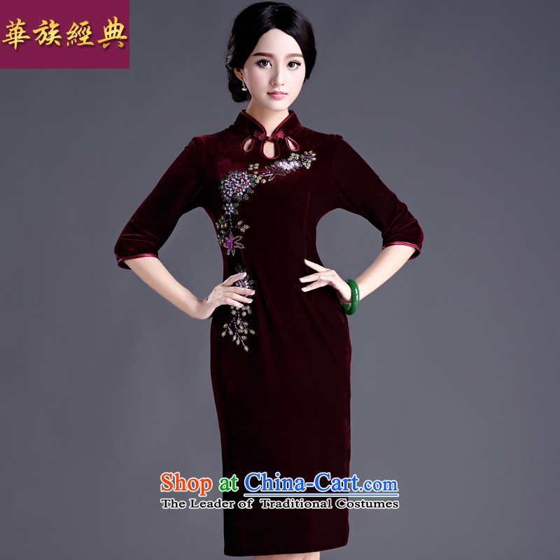 China-classic style with improved retro spring and autumn in the Pearl of the staple plush 7 cuff-sleeved qipao gown wedding banquet chestnut horses - 15 days pre-sale?M