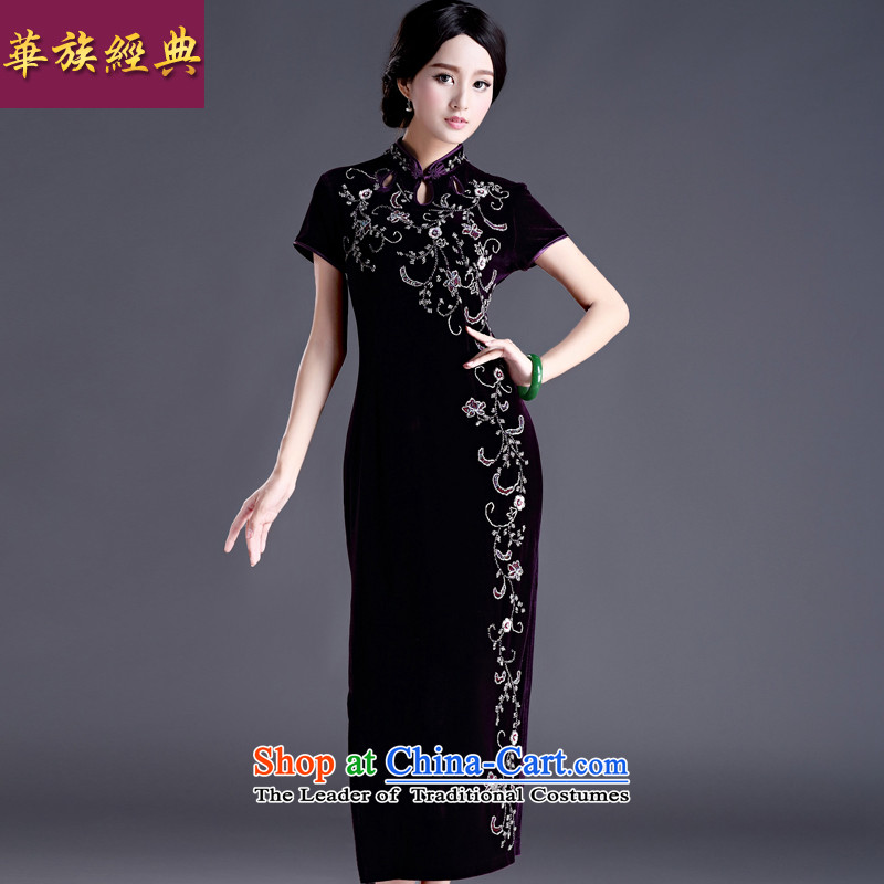 Chinese classic, spring and spring of Serb middle-aged ladies wedding dress qipao Kim scouring pads cheongsam dress temperament elegant purple short-sleeved燬