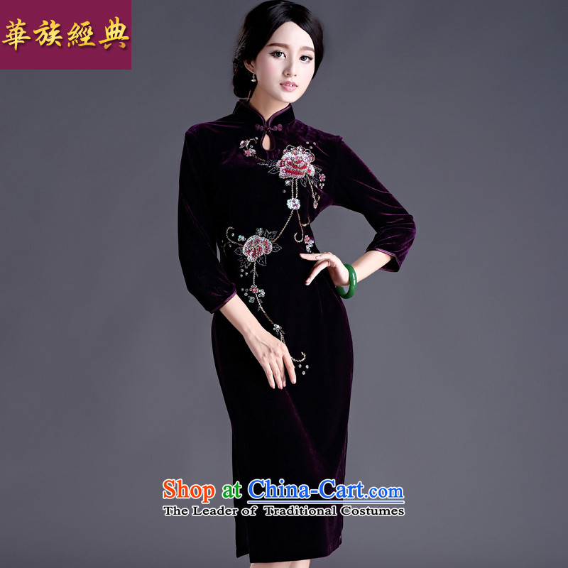 China Ethnic classic 2015 Spring new improvement in Chinese Antique manually staple-ju-cashmere cuff cheongsam dress female purple�XL