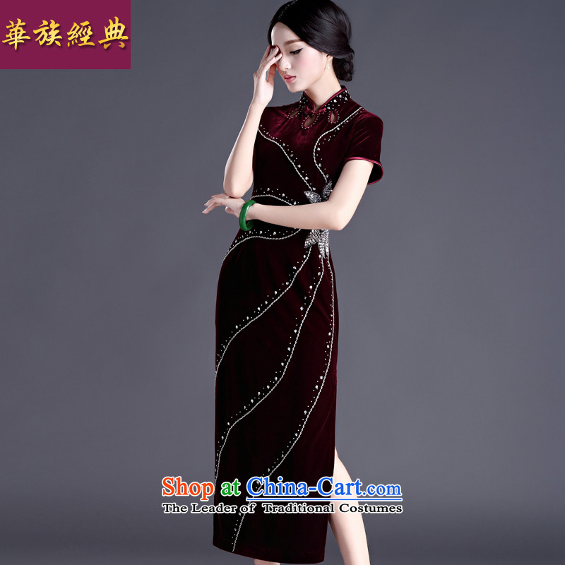 China Ethnic classic Chinese style wedding middle-aged true Ms. scouring pads short-sleeved long cheongsam dress dresses wedding banquet chestnut horses M