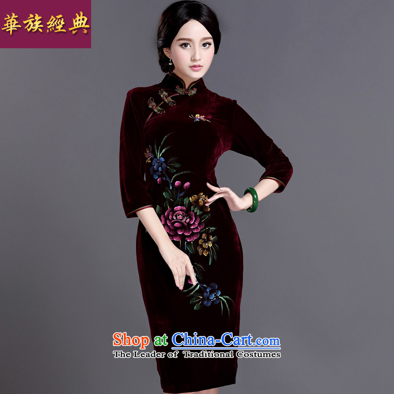 China Ethnic classic improved hand-painted silk in retro-sleeved wedding dresses, dresses elegant English thoroughbred, spring and autumn dress燲XL