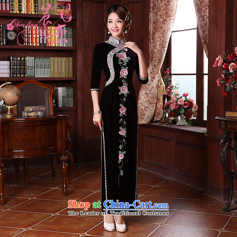 Morning spring and autumn 2015 new land improvement in the retro cuff stylish manually staple pearl luxury cashmere cheongsam dress in purple sleeve Length聽M
