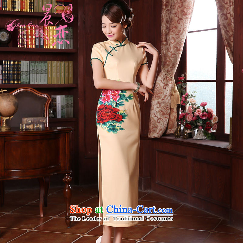 Morning new qipao land 2015 Spring Antique long Chinese cheongsam dress improved stylish and contemptuous of Mudan light yellow?L
