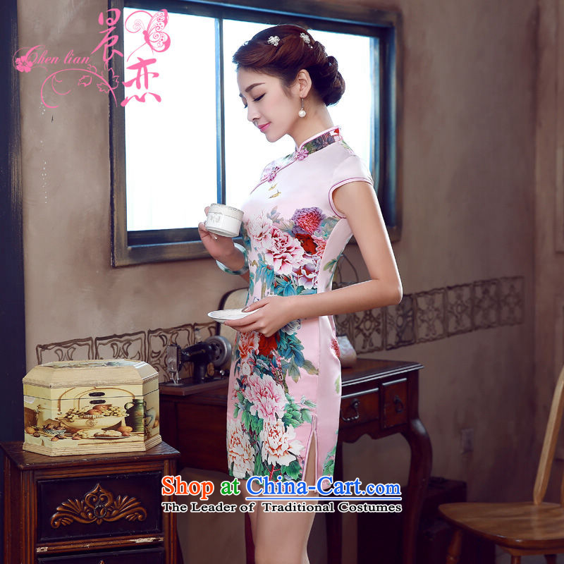 Morning new qipao land 2015 summer short of improvement and Stylish retro herbs extract Chinese Silk Cheongsam Peony pink L