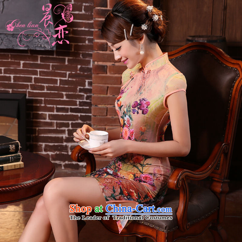 Morning new qipao land 2015 summer short of improvement and Stylish retro herbs extract silk CHINESE CHEONGSAM toner Orange Orange?L