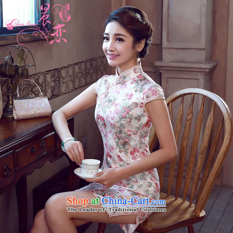 Land 2015 summer morning new Stylish retro short of improved cheongsam dress Chinese Daily Pink Pink blue?L