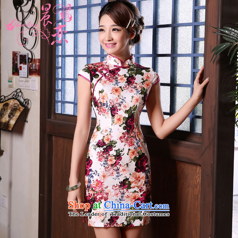 Land 2015 summer morning new Stylish retro short of improved cheongsam dress Chinese daily stunning rose?155/S Suit