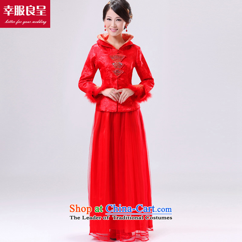 The privilege of serving good red brides fall_winter collections bows service wedding dress large MM thick long-sleeved Chinese cheongsam dress winter_ dress?5XL Cheongsam