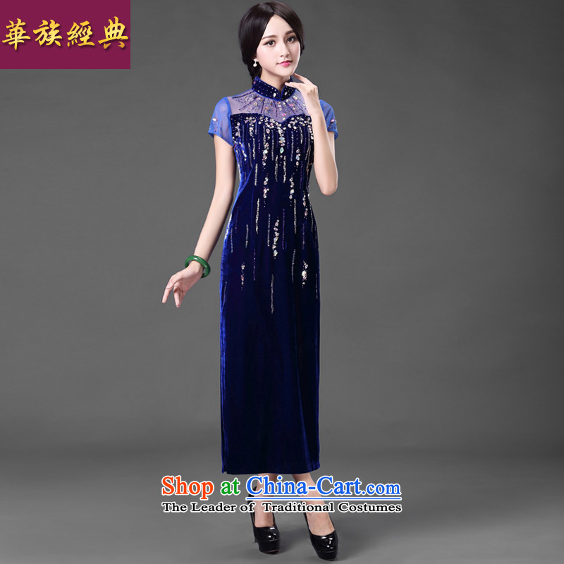 China Ethnic classic dark blue.. Stylish improvement _ Long Kim scouring pads banquet qipao gown skirt mother dresses blue聽XXL