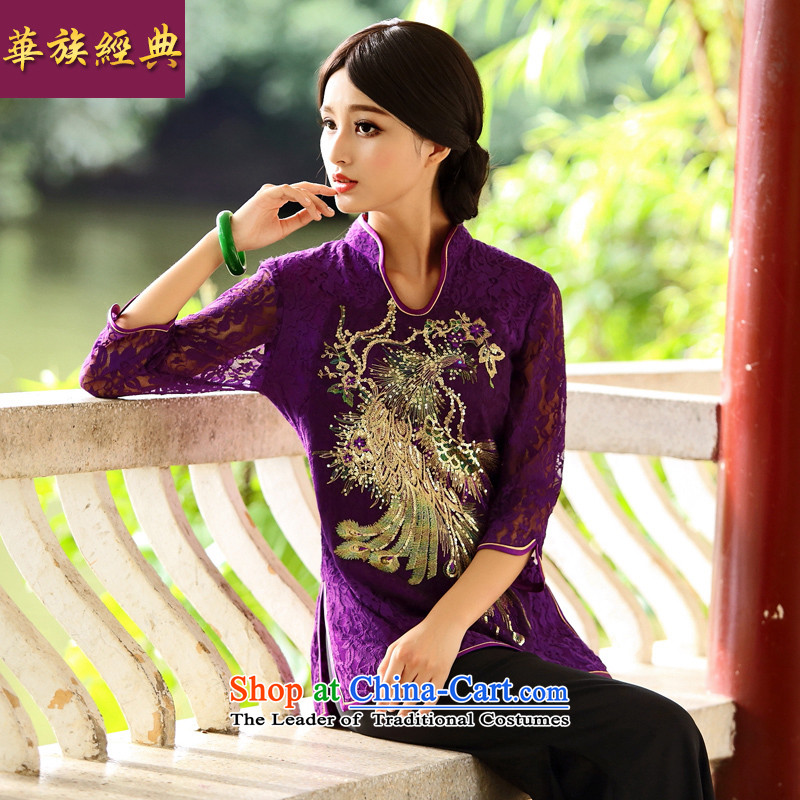 Chinese Classic _ Phoenix in the Serb enclaves in Ms. cuff Tang blouses Chinese ethnic improved services and purple shirt bows聽L
