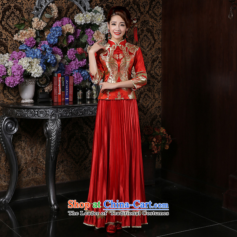 Su Xiang edge marriages long cheongsam dress dresses Sau Wo service long-sleeved red retro cheongsam red uniforms bows爔l