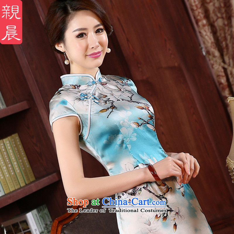 At 2015 new pro-chiu summer upscale heavyweight silk improvement and the relatively short time of herbs extract cheongsam dress skirt light blue?3XL- waist 86cm