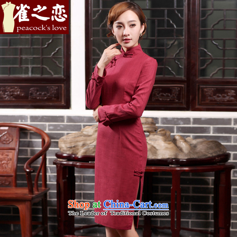 Love of birds cream day Hsiao Spring 2015 new daily fashion improved long cotton linen dresses Maroon women S