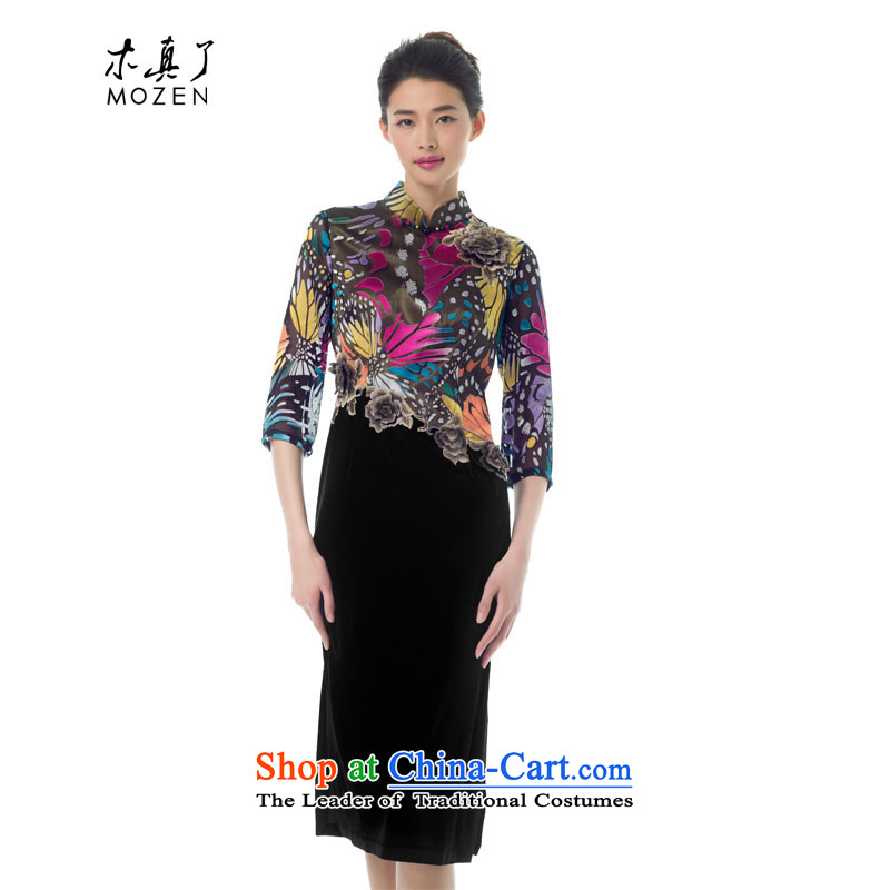 The Chinese women's really replace spring 2015 new products butterfly flower embroidery stitching cheongsam dress high-end dress 42939 17 light purple?M