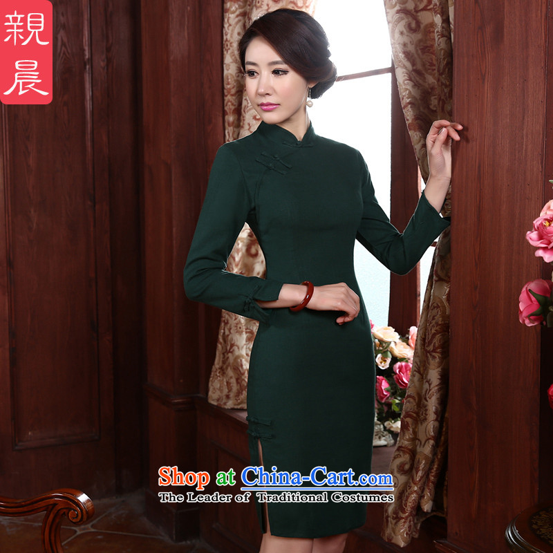 The pro-am autumn 2015 new daily short, long-sleeved strain Sau San cotton linen Stylish retro improved cheongsam dress green燤-waist 74cm