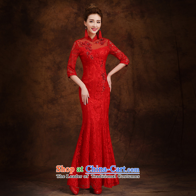 The knot true love bows Service Bridal Fashion 2015 new long-sleeved marriage cheongsam dress suit for winter crowsfoot Long Red Winter Female Red燬