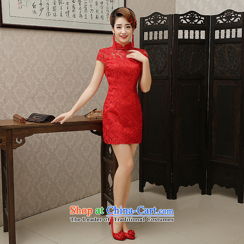 The knot true love bows Service Bridal 2015 new stylish cheongsam dress red lace married Married, small Dress Short qipao winter red燲L