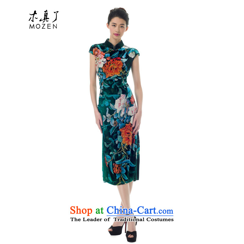 The women's true   2015 Spring New Silk Velvet retro long qipao gown 21823 elegant Chinese 14 Deep Green XXL