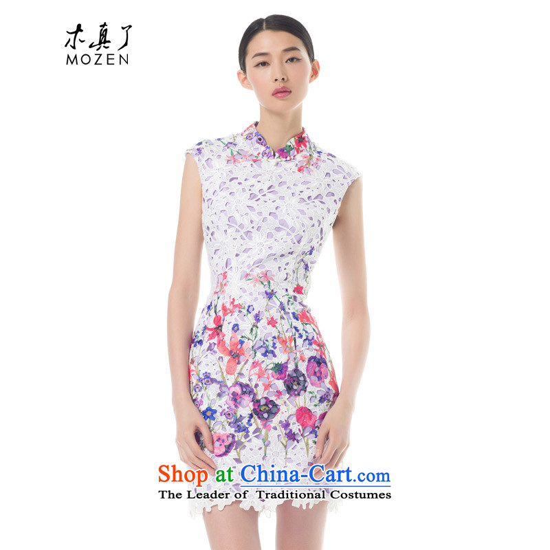 The Tang Dynasty outfits wood really spring and summer 2015 new engraving Sau San cheongsam dress stamp couture skirt 42772 02 pure white?S