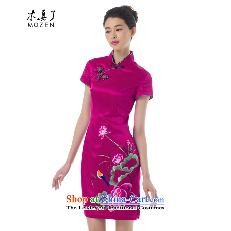 The Tang Dynasty outfits wood really spring 2015 the new Chinese embroidery cheongsam, short-sleeved Sau San dress stylish girl skirt 53309 18 DEEPPINK M