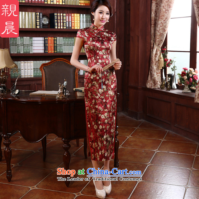 The pro-am new day-to-day long summer 2015 stylish upmarket silk retro improved sauna silk cheongsam dress Red�M-waist 74cm