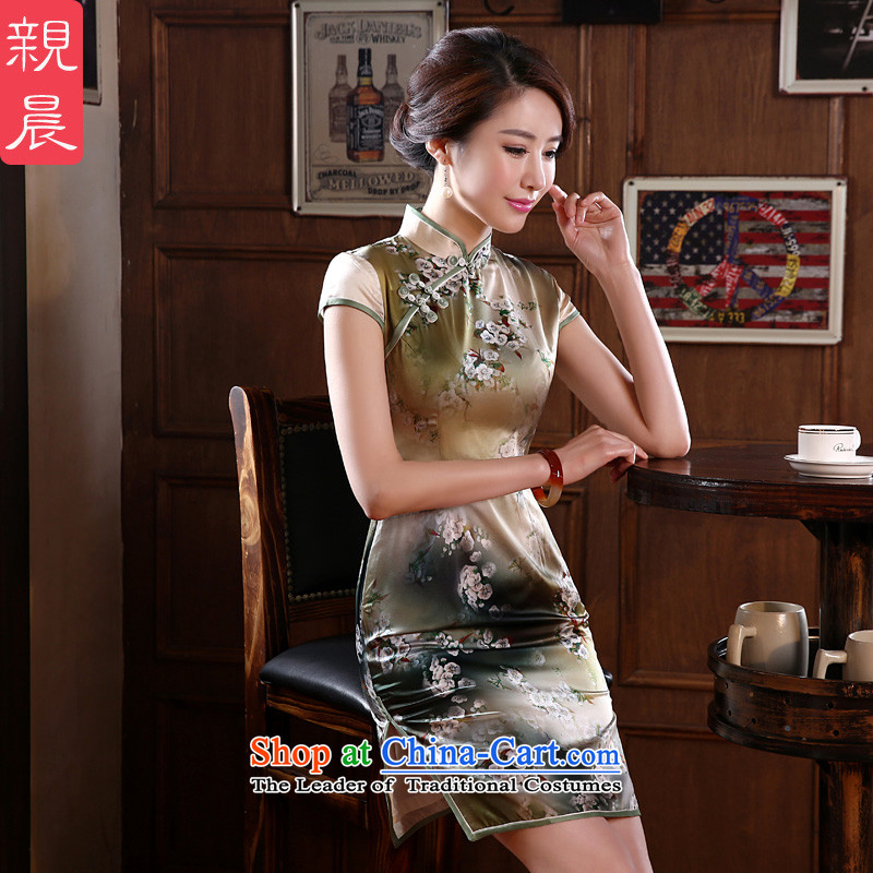 The new 2015 pro-morning daily stylish upmarket silk retro improved Sau San heavyweight herbs extract cheongsam dress Tan 3XL- waist 86cm