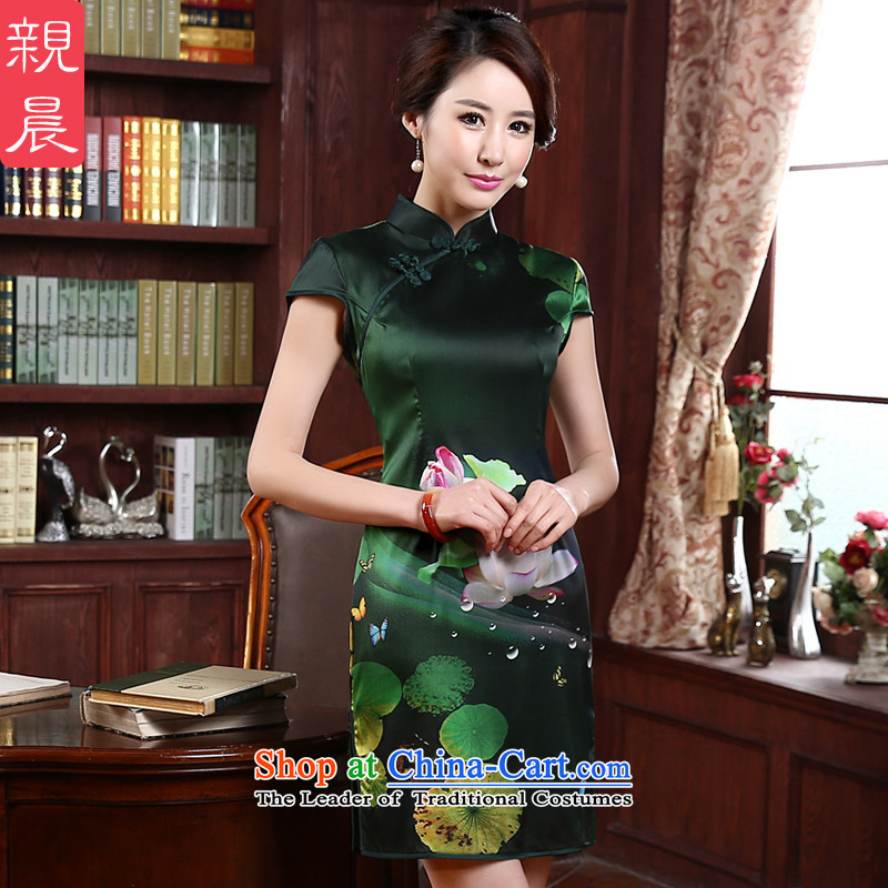The new 2015 pro-am summer and fall short of the improved standard of silk retro Sau San sauna silk cheongsam dress green聽2XL- waist 80 cm