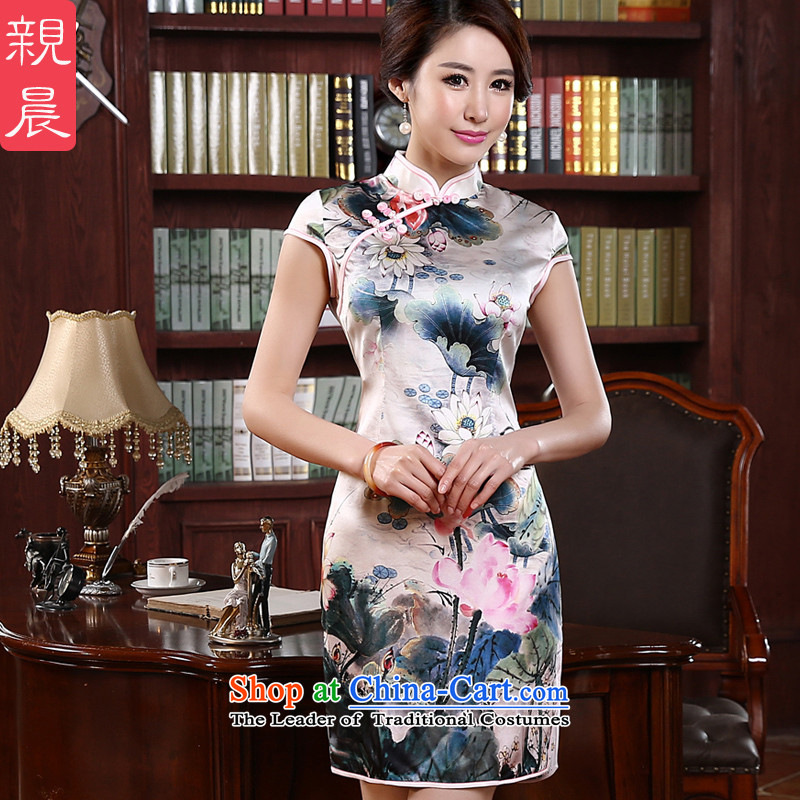 At 2015 new pro-summer short, improved retro stylish upmarket silk heavyweight cheongsam dress herbs extract picture color�3XL- waist 86cm