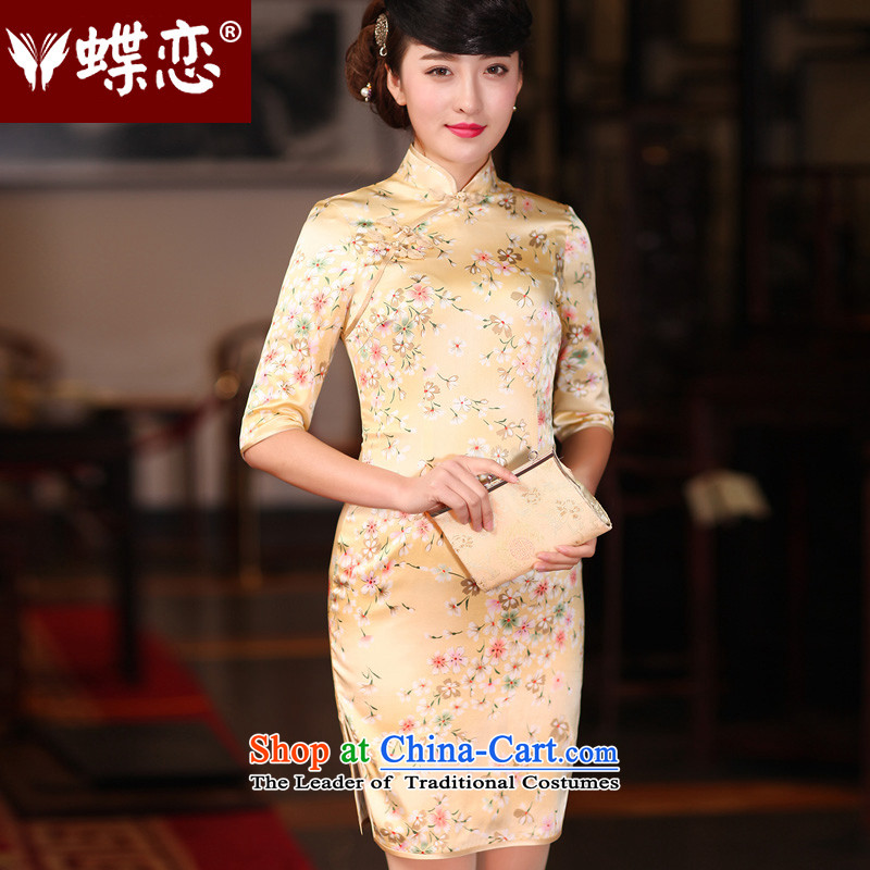 The Butterfly Lovers autumn 2015 new stylish improved Sau San herbs extract silk cheongsam dress?480 2?Sakura grass?M