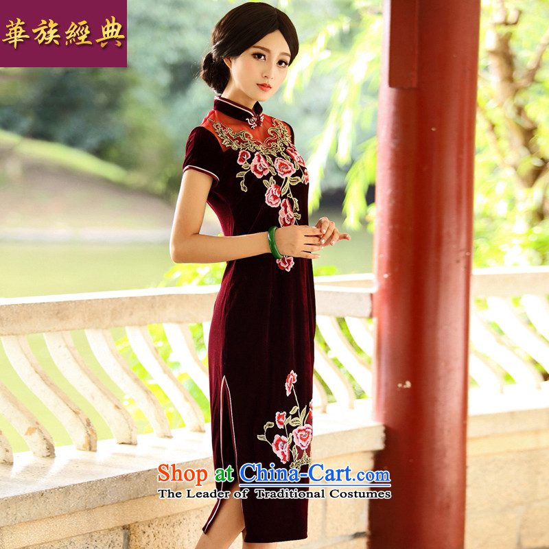 Chinese?New Year 2015 Classic Serb in long improved embroidered velvet cheongsam dress suit middle-aged retro wedding performances?XXXL chestnut horses