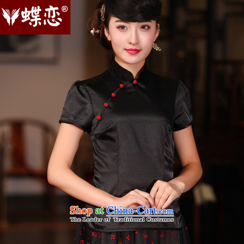 The Butterfly Lovers 2015 Summer new ethnic improved stylish shirt qipao China wind silk Tang dynasty female black燬