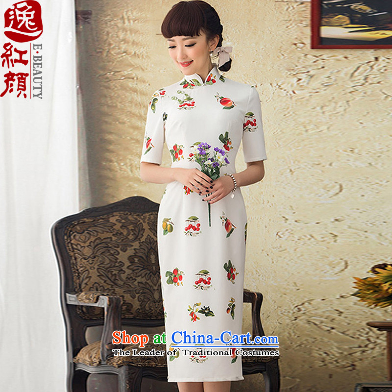 A Pinwheel Without Wind red fruits�2015 Yi Chun replacing new long skirt style qipao improved stamp cheongsam dress retro white�S
