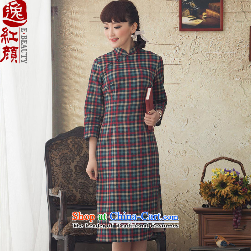 A Pinwheel Without Wind recruitment Ting Yat stamp in long-sleeved qipao improved new stylish spring and autumn 2015 cheongsam dress retro blue�L