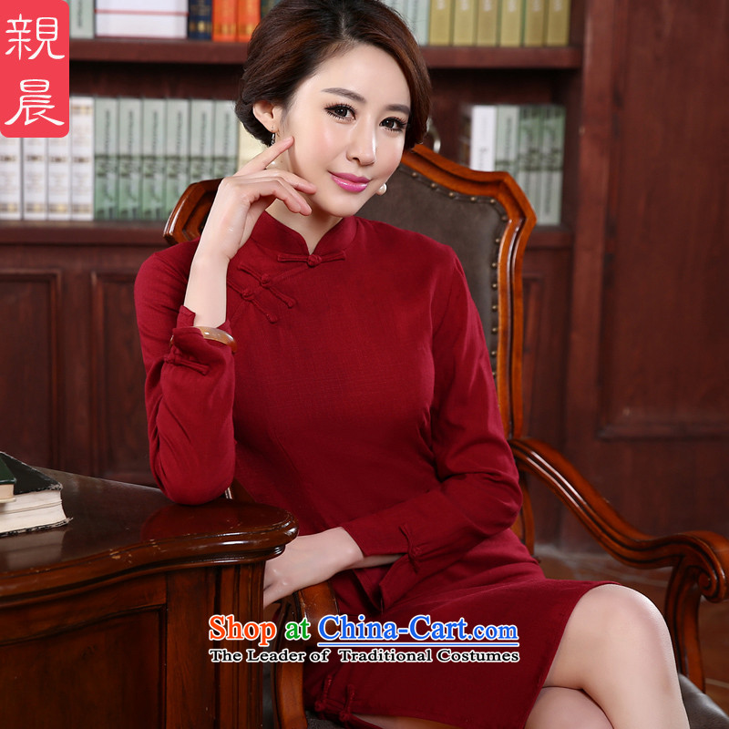 2015 autumn morning daily pro-new temperament, long-sleeved retro Sau San short improved stylish cotton linen cheongsam dress Red燤-waist 74cm