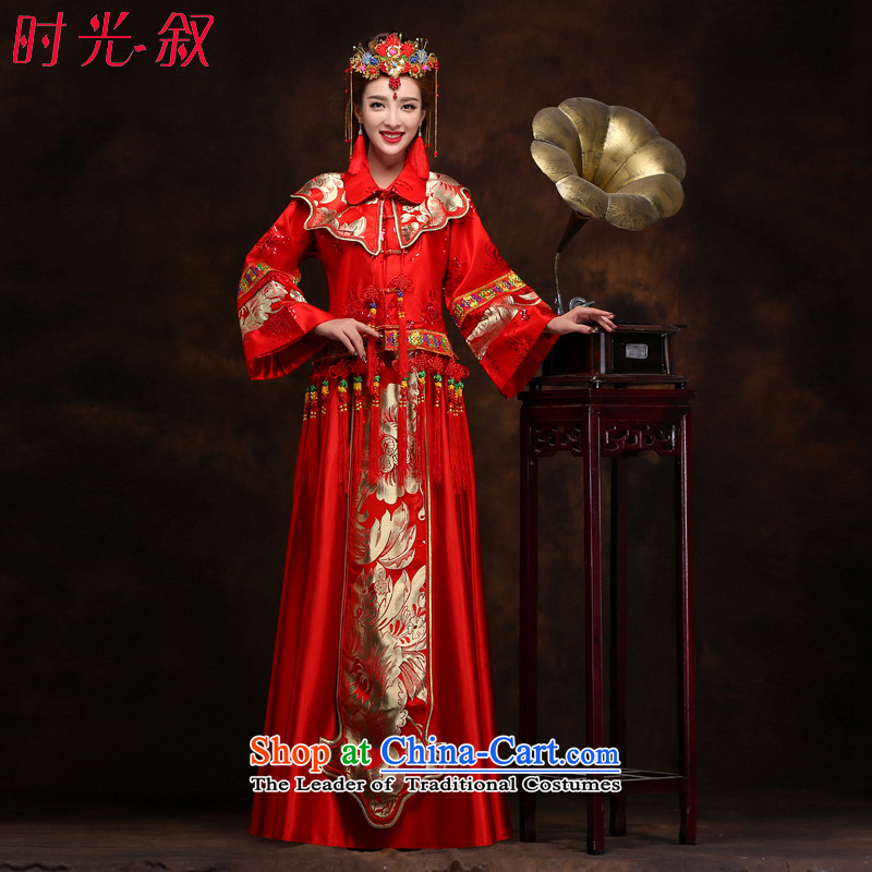 The Syrian brides-soo time retro services?fall 2015 groups of Chinese qipao gown marriage dragon use red bows Soo kimono costume marriage solemnisation?XL