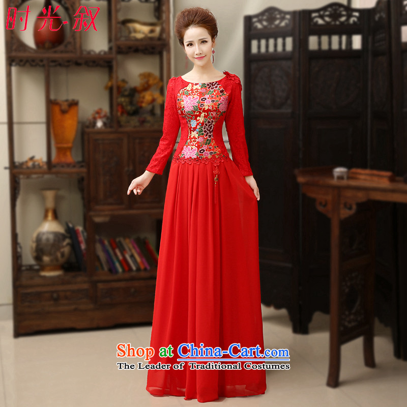 Time Syrian autumn and winter long-sleeved round-neck collar improved retro qipao bows Service Bridal wedding dress large long skirt long-sleeved gown?M