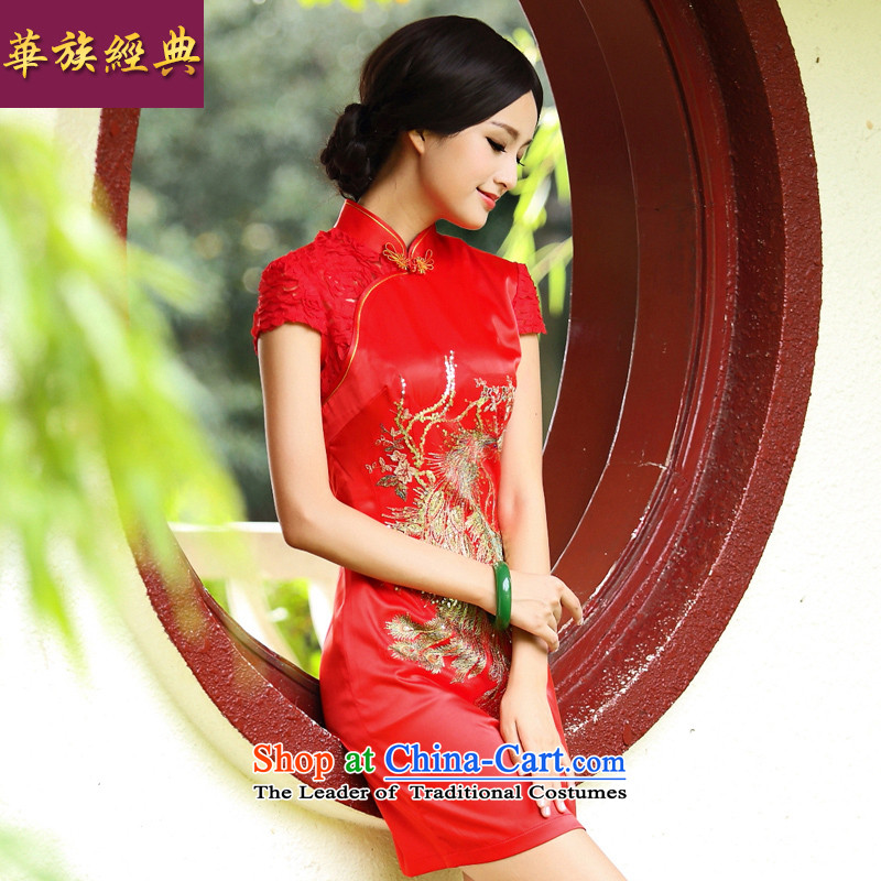 China Ethnic Classic _ Fire Phoenix recommended improvements.. Retro wedding dress stylish and elegant bows services red bride燤