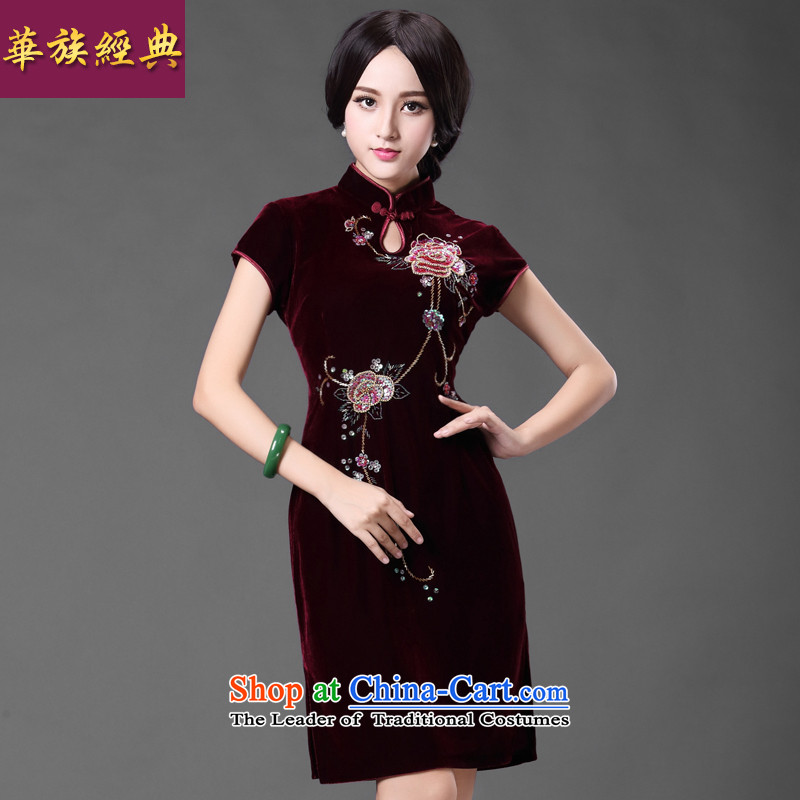 Chinese classic elegant gold velour ethnic Chinese cheongsam dress mother wedding in older retro improvement of Ms. spring and summer English thoroughbred燲XL