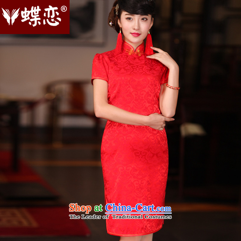 Butterfly Lovers 2015 Autumn new stylish bride toasting champagne, improved service wedding dress retro CHINESE CHEONGSAM red - new pre-sale 20 days of燲L