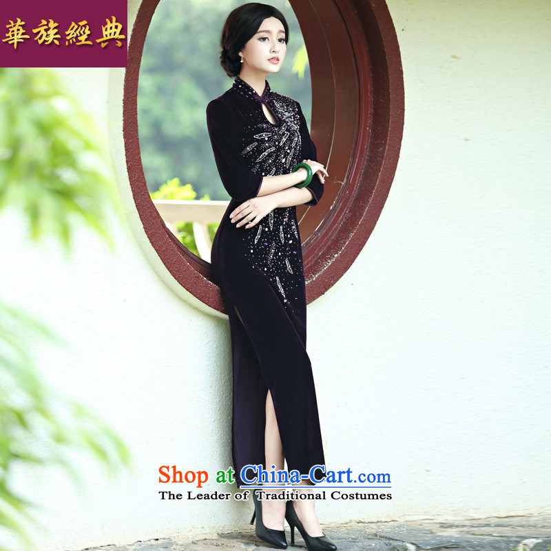 Middle-aged ladies wedding dress noble mother Kim velvet cheongsam long skirt improvement in spring and summer retro purple cuff?XL