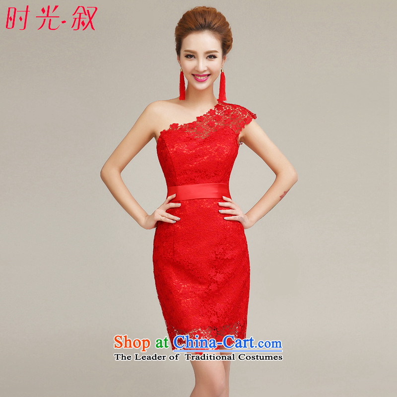 Time shoulder dresses Syria red爏pring and summer 2015 NEW CHINESE CHEONGSAM bride short, bows to the fall of marriage evening banquet燣