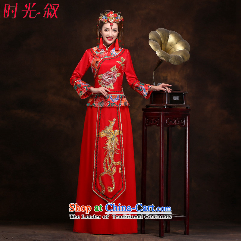 The Syrian Chinese Soo-reel hour services serving drink bride classical cheongsam wedding dress long dragon use hi-costume?XL