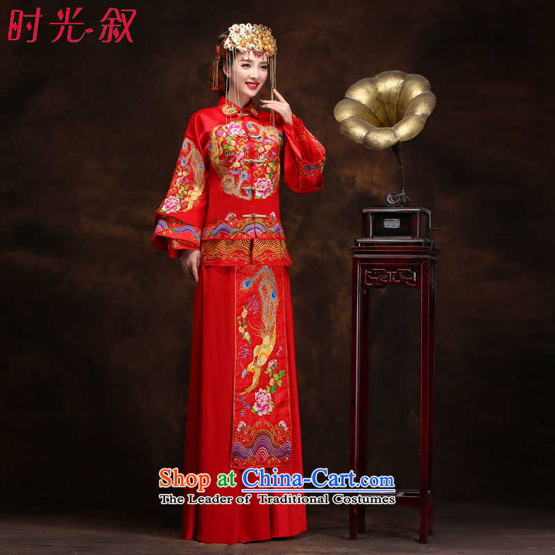 Syria red bows service hour embroidery longfeng use?2015 new autumn and winter clothing bridal dresses Sau Wo Chinese wedding dress retro cheongsam wedding gown?S