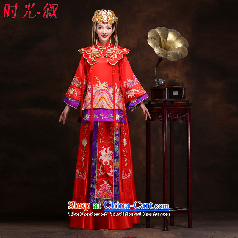 Large red-soo time Syrian Wo service use the dragon�15 autumn and winter new bride Chinese Dress costume bows Cherrie Ying marriage solemnisation wedding gown燲L
