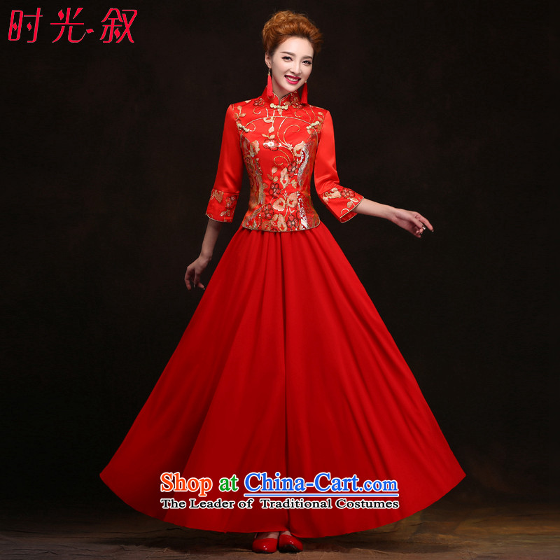 Time improved long-sleeved red Syrian cheongsam wedding dresses 2015 new bride燲XL toasting champagne