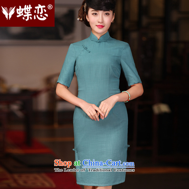 The Butterfly Lovers 2015 Summer new improved stylish cheongsam dress retro long Tang Dynasty Chinese qipao daily cyan燤